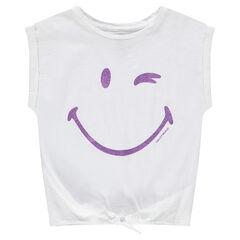 Κοντομάνικη ζέρσεϊ μπλούζα σε φαρδιά γραμμή με στάμπα ©Smiley  από παγιέτες