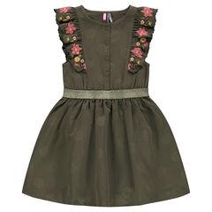 Φόρεμα σατινέ σαγρέ με βολάν στα μανίκια και κεντημένα λουλούδια