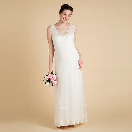 Robe longue de mariée de grossesse en tulle et dentelle