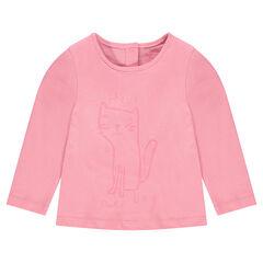 Μακρυμάνικη μπλούζα με φαντεζί τύπωμα γάτα