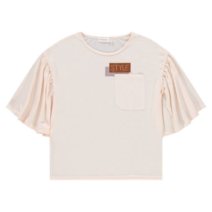 Παιδικά - Κοντομάνικη μπλούζα με βολάν και τσέπη