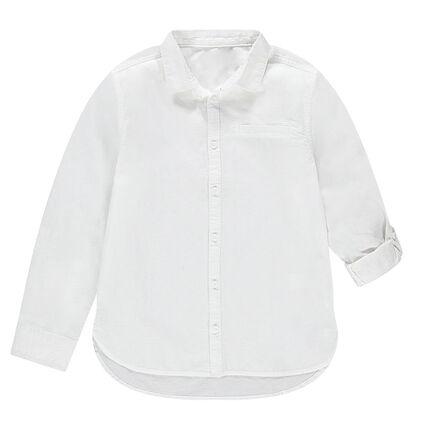 Παιδικά - Λευκό βαμβακερό μακρυμάνικο πουκάμισο