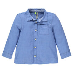 Μακρυμάνικο βαμβακερό πουκάμισο με τσέπη
