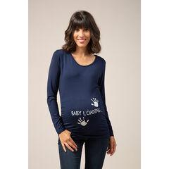 Μακρυμάνικη μπλούζα εγκυμοσύνης  με φαντεζί μήνυμα - Μπλε , Prémaman