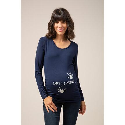 T-shirt manches longues en jersey à print fantaisie