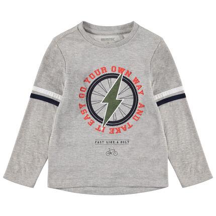 Μακρυμάνικη μελανζέ μπλούζα με τύπωμα κεραυνό
