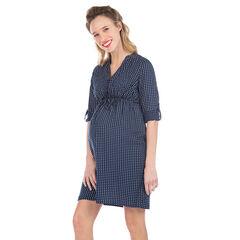 Φόρεμα εγκυμοσύνης με πουά και μανίκια που γυρίζουν