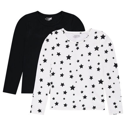 d43a5195c2b Παιδικά - Σετ με 2 μακρυμάνικες μπλούζες, μία μονόχρωμη/μία εμπριμέ με  αστέρια