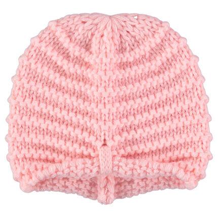 Πλεκτός χοντρός σκούφος σε ροζ χρώμα