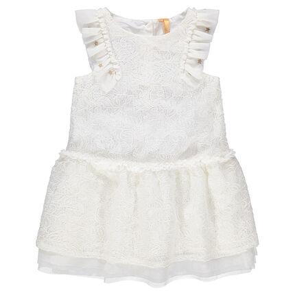 Λευκό φόρεμα από δαντέλα για επίσημες περιστάσεις και μανίκια με βολάν