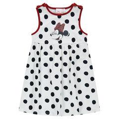Αμάνικο φόρεμα από ζέρσεϊ με πουά μοτίβο σε όλη την επιφάνεια και μπάλωμα με τη Minnie της ©Disney