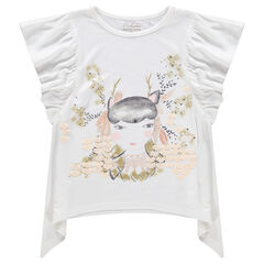 Κοντομάνικη μπλούζα με βολάν στα μανίκια και τυπωμένη φιγούρα
