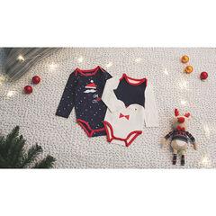 Σετ με 2 μακρυμάνικα κορμάκια σε χριστουεννιάτικο πνεύμα με ένα μοτίβο σε όλη την επιφάνεια / ένα με στάμπα πιγκουίνο