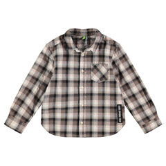 Μακρυμάνικο καρό πουκάμισο με ετικέτα με διακοσμητικό σχέδιο
