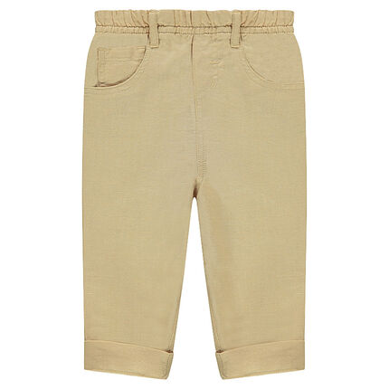 Μονόχρωμο παντελόνι από λινό και βαμβάκι