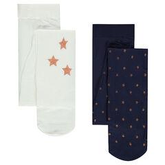 Σετ 2 λεπτά καλσόν με μεταλλιζέ αστέρια