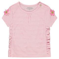 Κοντομάνικη μπλούζα με σούρες και λουλούδια στα μανίκια