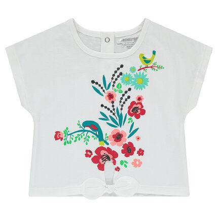 Κοντομάνικη μπλούζα από ζέρσεϊ με βολάν και τυπωμένα λουλούδια ... 395020e6de2