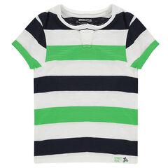Κοντομάνικη μπλούζα από ζέρσεϊ με λωρίδες σε χρώμα που κάνει αντίθεση