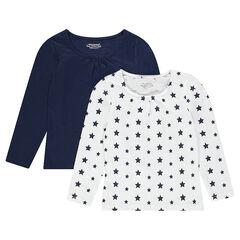 Σετ με 2 μακρυμάνικες μπλούζες μονόχρωμη/εμπριμέ