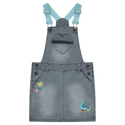 Τζιν φόρεμα με ελαστικές τιράντες και κεντημένα μοτίβα