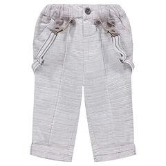 Βαμβακερό ριγέ παντελόνι με αφαιρούμενες τιράντες
