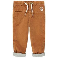 Καμηλό παντελόνι από βελούδο χωρίς πέλος με ζέρσεϊ επένδυση