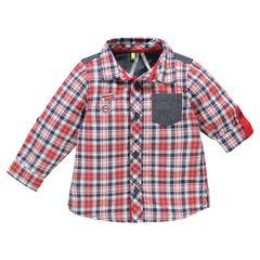 Chemise manches longues à carreaux avec poche en chambray et patchs