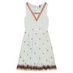 Παιδικά - Μακρύ αμάνικο φόρεμα με φαντεζί κεντήματα