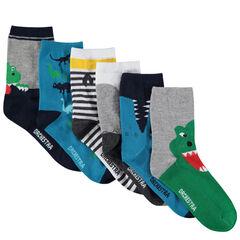 Σετ 6 ζευγάρια ασορτί κάλτσες με μοτίβο τα ζώα της ζούγκλας