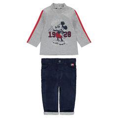 Σύνολο με μπλούζα με στάμπα Mickey της ©Disney και βελουτέ παντελόνι