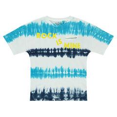 Παιδικά - Κοντομάνικο μπλούζα ζέρσεϊ βαμμένη με τεχνική shibori και τυπωμένη φράση