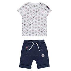 Σύνολο με μπλούζα με μοτίβο ©Smiley σε όλη την επιφάνεια και βερμούδα σε τζιν ύφανση