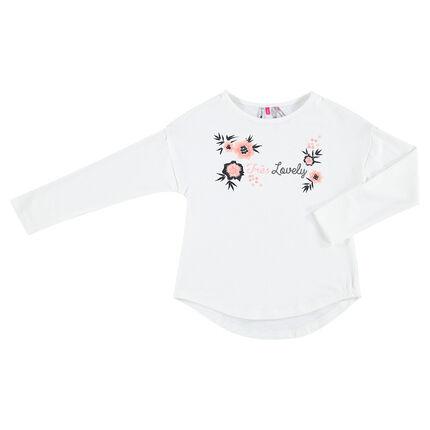 Μακρυμάνικη ζέρσεϊ μπλούζα με κεντημένα λουλούδια