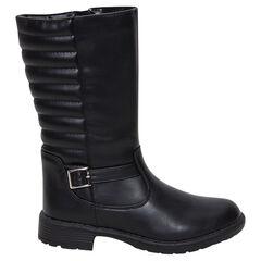 Μαύρες μπότες με φερμουάρ και καπιτονέ όψη