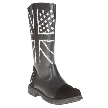 Bottes noires en cuir print fantaisie drapeau anglais