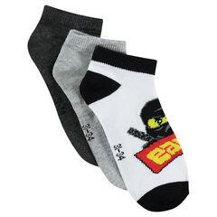 Σετ με 3 ζευγάρια κοντές κάλτσες με μοτίβο Ninjago της ©Warner/Lego
