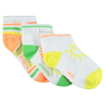 Σετ 3 ζευγάρια κοντές κάλτσες με πολύχρωμα μοτίβα