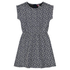 Κοντομάνικο φόρεμα με ζακάρ μοτίβο