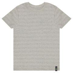 Κοντομάνικη μπλούζα από βαμβακερό πικέ με τσέπη