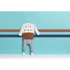 Τρίχρωμη μακρυμάνικη μπλούζα από ζέρσεϊ με τυπωμένες λεπτομέρειες