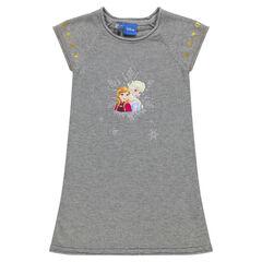 Κοντομάνικο πλεκτό φόρεμα με χρυσαφί αστέρια και στάμπα την Έλσα και την Άννα της Disney