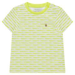 Κοντομάνικη ζέρσεϊ μπλούζα με φαντεζί ρίγες και τσέπη.