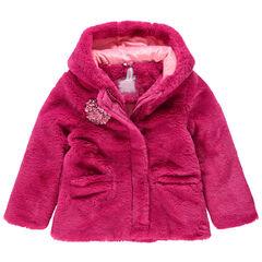 Παλτό από sherpa με κουκούλα και επένδυση από sherpa