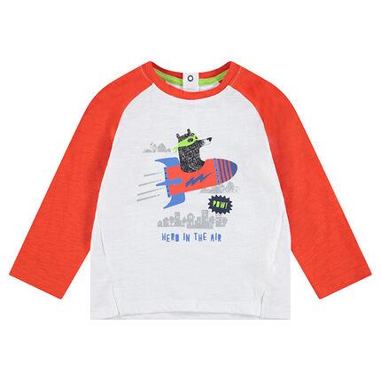 Δίχρωμη μακρυμάνικη μπλούζα ζέρσεϊ με τυπωμένο αρκουδάκι