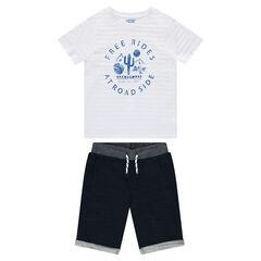 Παιδικά - Σύνολο με μπλούζα με στάμπα και φανελένια βερμούδα