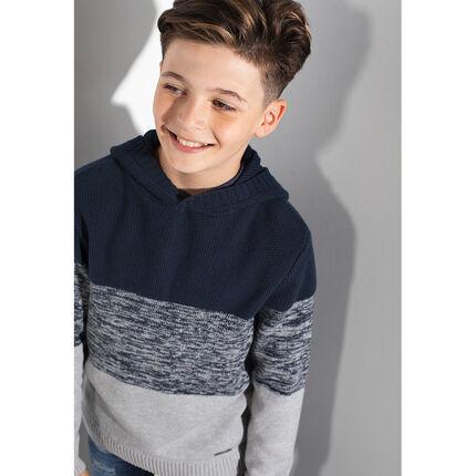 Παιδικά - Τρίχρωμο πουλόβερ με κουκούλα