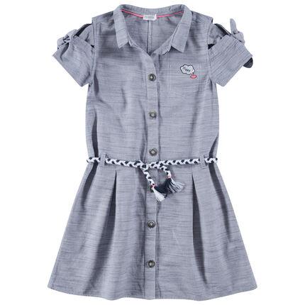 Παιδικά - Κοντομάνικη πουκαμίσα με ζώνη πλεξούδα