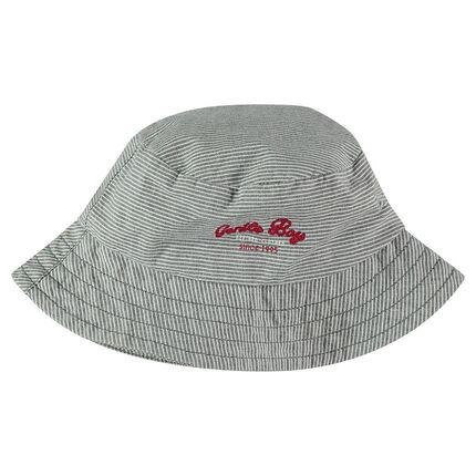 Βαμβακερό καπέλο με ρίγες και κεντημένα γράμματα