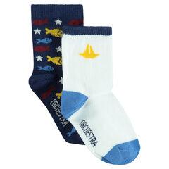 Lot de 2 paires de chaussettes assorties unies/à motif